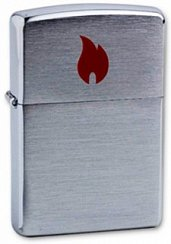 Зажигалка ZIPPO Red Flame Brushed Chrome 200 Red Flame