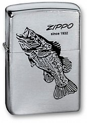 Зажигалка ZIPPO Black Bass Brushed Chrome 200 BLACK BASS